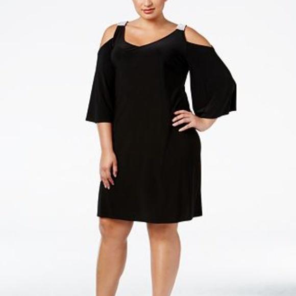 Black Plus Size Embellished Cold-Shoulder Dress NWT